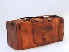 """25"""" Men's Real Leather Vintage Large  Duffle Travel Gym Luggage Carry on Bag New"""