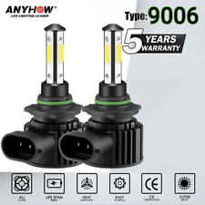 4-Side 9006 HB4 Pair LED Headlight Bulb+High Low Beam 75W 9000LM White 6000K HID
