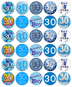 30x 30th Birthday Blue Cupcake Toppers Edible Wafer Paper Fairy Cake Toppers
