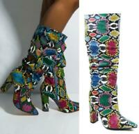 Europe Snakeskin Printed Pointy Toe Side Zip Mid Calf Boots Women Party SZ 35-45