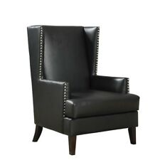 Coaster Faux Leather Accent Chair in Black