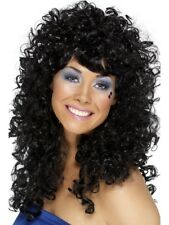 Negro Adulto Boogie Nena Peluca Años 60 Años 70 Años 80 Cher Disfraz Mujer Nuevo