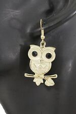 New Women Gold Earrings Owl Birds On Tree Branch Metal Hook Dangle Fashion Funny