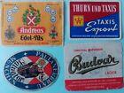 4 alte Bieretiketten Brauerei PAULANER, ANDREAS,THURN&Taxis