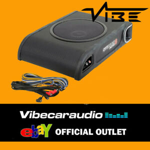 """Vibe Optisound 8 8"""" Active Underseat Subwoofer Amplified Bass Box inc wiring kit"""