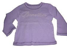 Benetton tolles Langarm Shirt Gr. 56 / 62 lila mit Schriftzugdruck !!