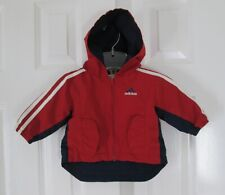 Adidas Baby Size 3 M Red Multi Polyester Lined Zipper Hooded Windbreaker Jacket