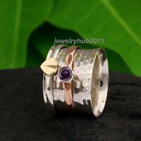 Amethyst Solid 925 Sterling Silver Spinner Ring Handmade  Ring Size bb26