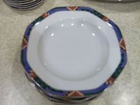 "2 Studio Nova Sedona Y0044 Rimmed Soup Cereal Bowl 9 1/4""Geometric Multi Colored"