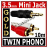 10m Twin RED WHITE 2x RCA PHONO to Stereo 3.5mm Mini Jack STEREO Audio Aux Cable