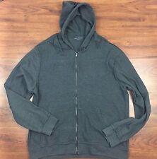 CALVIN KLEIN Long Sleeve Grey Full Zip Knitted Hoodie Men's XL Spell Out