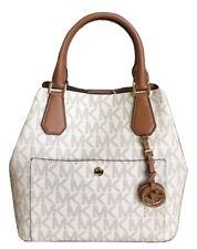 Michael Kors Greenwich Large Grab Bag MK Logo Satchel Handbag Vanilla Nwt $358
