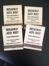 Broadway Auto Body  in Ca. with Old cars Match Books