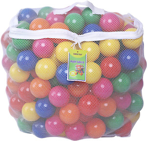 200 Play Balls for Children's Ball Pit Crush 6 Bright Color Storage Mesh Bag NEW