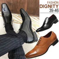 Mens Lace Up Oxfords Leather Shoes Pointed Toe Wedding Formal Office Dress Shoes