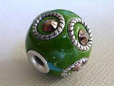 KASHMIRI Indonesische Perle Kugel rund grün rosa Glitzer 18 mm 2737