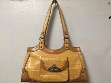 Shoulder Purse Satchel Handbag Light Brown Zip Closure MC Marc Chantal H29
