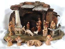 Anri Italian Wood Carved Statue Figurines Christmas Nativity manger set 14pcs