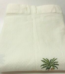 HEAVY COTTON WAFFLE WEAVE FABRIC SHOWER CURTAIN WITH EMBROIDERED PALM TREES