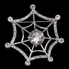 Lovely Spider Web Cobweb Czech Crystal Brooch Pin 5cm Tall