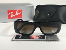 8e5daddda9f Ray-Ban Highstreet Polarized Sunglasses Flat Oval Black Gloss Brown Lens  RB4122