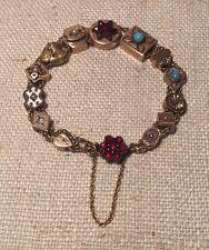 Antique 1940s 14k Gold & Gold Filled Slide Garnet Turquoise Bracelet