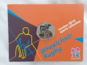 2012 50p OLYMPIC 28/29 WHEELCHAIR RUGBY COIN ON CARD BRILLIANTLY UNCIRCULATED
