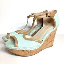 51921973f0a3 Tommy Hilfiger Womens Blue Open Toe Cork Wedges Shoes 10 M  ye