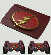 Playstation PS3 Super Slim superhéroe Flash Logo 01 Lightning Pegatina de la piel