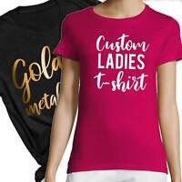 Custom Printed Women T-Shirt Rose Gold Text Black White Ladies Tee Size 10 12 14