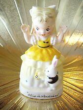 V. RARE VTG Napco Alice in Wonderland Girl w/ Rabbit Bunny Easter Figurine MINT!