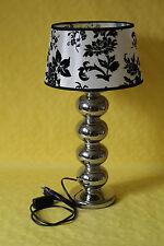 große Lampe Tischlampe versilbertes Porzellan  Stoffschirm Shabby Chic