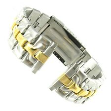 16-22mm Linea Two Tone Solid Stainless Steel Divers Deployment Buckle Watch Band