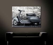 VINTAGE ROLLER LEGEND VESPA Leinwand Bild Grau Blau Wandbild Classic Deko Retro