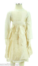 JACADI Girl's Adesio Ivory and Gold Overall Dress Age: 8 Years NWT $172