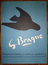 Georges Braque affiche litho Orangerie des Tuileries 1974 cubisme l'oiseau