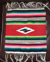 Vintage Woven Rug -  Throw Textile Weaving Mexican Saltillo NICE