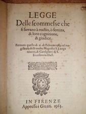 (Firenze) bandi. LEGGE delle scommesse che si faranno à mastio, ò femina... 1563