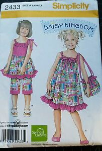 Simplicity Girl's Sewing Pattern 2433 Daisy Kingdom Size A 3,4,5,6,7,8 Uncut