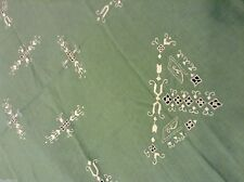 Vtg LINEN TEACLOTH TABLECLOTH Hand Embroidered 32.5X34in Gently used LOVELY!