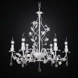 Chandelier Wrought Iron And Crystal White Antiqued 6 Lights Bga 2513/6
