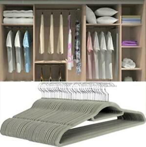 Grey 50 Non-Slip Flocked Velvet Hanger Coat Clothes Trouser Hanging Hangers Bar