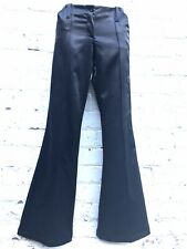 Vintage satin flares trousers black low rise hipster hippy disco 1990s GAS UK 12
