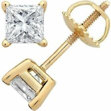 3.00CT Brilliant Princess Cut 14K Yellow Gold ScrewBack Stud Earrings