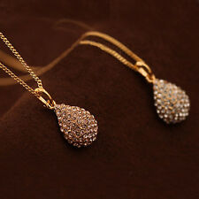 Women Silver Gold Plated Crystal Rhinestone Necklace Stud Earrings Jewelry Set