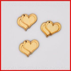 12 Charms Wooden Double Heart Appliques Wedding Favors DIY Wedding Stock