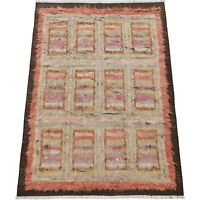 Checkered Panels Modern 7'x9' Moroccan Area Rug Hand-Knotted Living Room Carpet