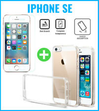 Transparent Gel Case Cover Cas + Screen Protector Tempered Glass For iPhone SE