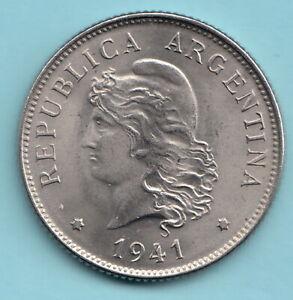 ARGENTINA 1941 50 centavos -KM#39- Freedom Head-R1082 - Nickel- uncirculated