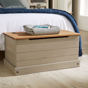 Corona Grey Ottoman Storage Wood Chest Toy Chest Bedding Pine Blanket Box